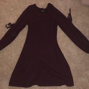 Burgundy cold shoulder sweater dress